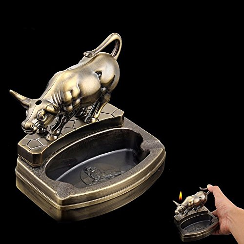 SSBY Creative Desktop Zhaocai Taurus Zodiac Metal Personality Ashtray With Lighter Smoking Gifts ()