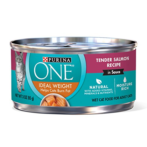 Purina ONE Natural Weight Control Wet Cat Food, Ideal Weight Tender Salmon Recipe – (24) 3 oz. Pull-Top Cans