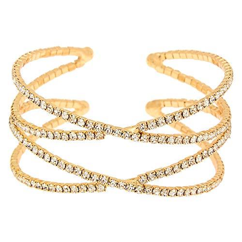 Icing Women's Gold Rhinestone Double Criss Cross Cuff Bracelet (Criss Cross Rhinestone)