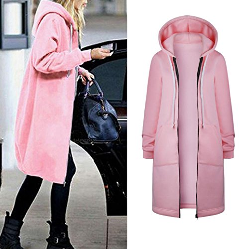 Holiday Denim Jacket - IEason Women Top, Women Warm Zipper Open Hoodies Sweatshirt Long Coat Jacket Tops Outwear (Pink, 2XL)