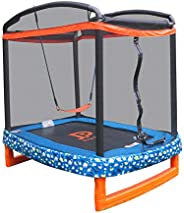 """JUMP POWER 72"""""""" x 50"""""""" Rectangle Indoor/Outdoor Trampoline & Safety Net with Swing Com"""