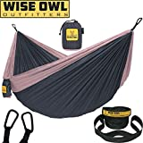 Wise Owl Outfitters Hammock Camping Double & Single with Tree Straps - USA Based Hammocks Brand Gear, Indoor Outdoor Backpacking Survival & Travel, Portable DO ChRose