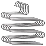 HOMEIDEAS 6 Pack Pants Hangers S-Shape Stainless Steel Clothes Hangers Space Saving Hangers Closet Organizer for Pants Jeans Scarf(5 Layers,6Pcs)