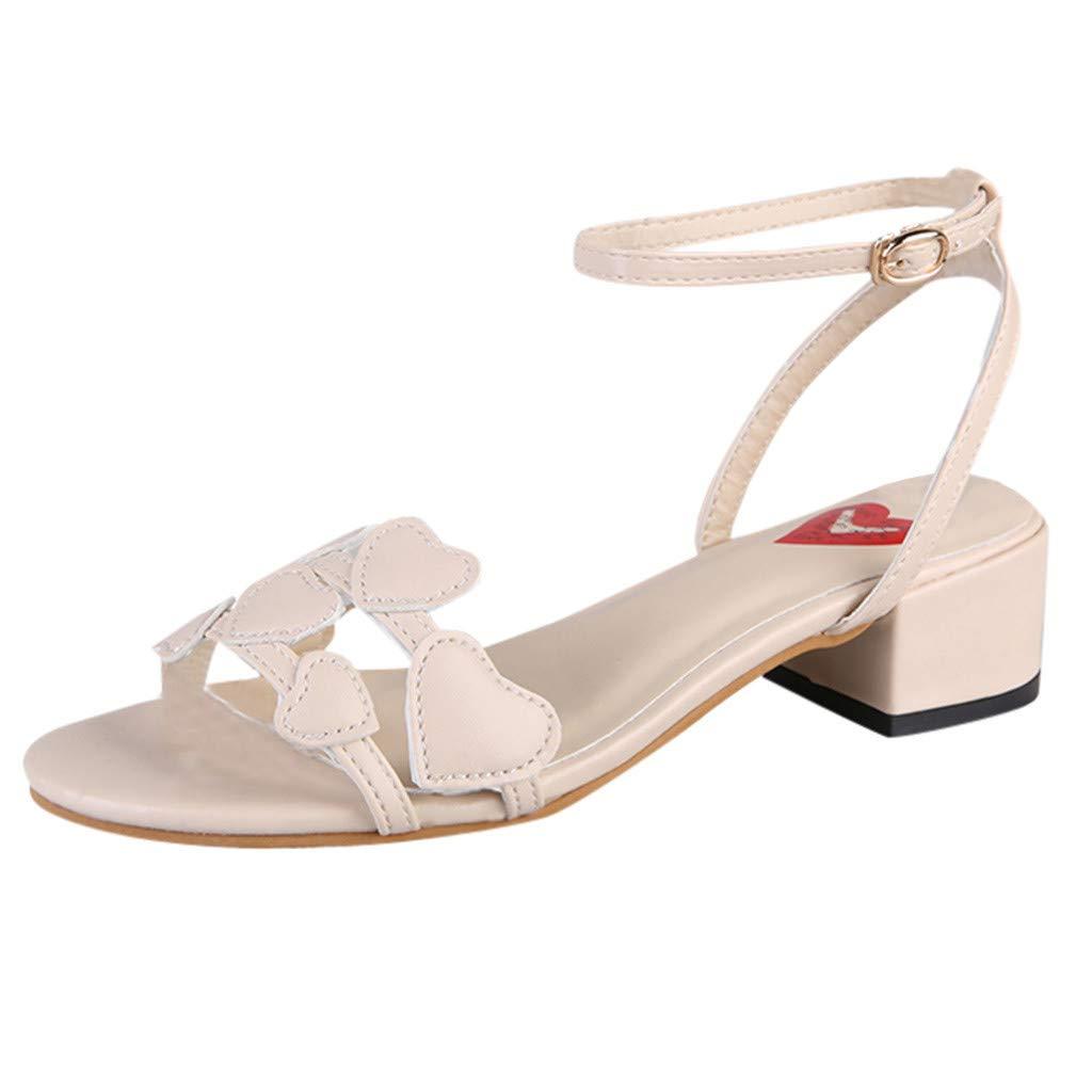 ZOMUSAR Shoes for Ladies, Women's Fashion Casual Square Heels Mid Heels Sandals Ladies Open Toe Shoes Beige