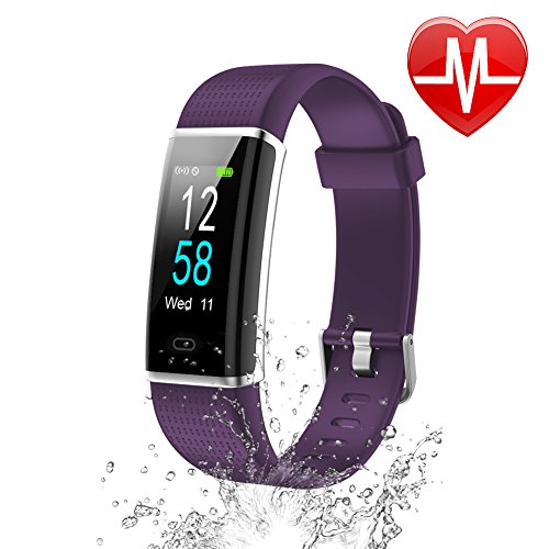 Letsfit Waterproof Fitness Tracker with Heart Rate Monitor, Color Screen Fitness Watch, Smart Bracelet with Sleep Monitor, Step Counter, Pedometer Watch for Kids Women and Men, 0.96 Screen, Purple