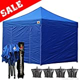 Cheap (20+ colors)Abccanopy 10-feet By 10-feet Festival Steel Instant Canopy, Commercial Level, with Wheeled Storage Bag, 6 Removable Zipper End Walls , Bonus 4x Weight Bag (royal blue)