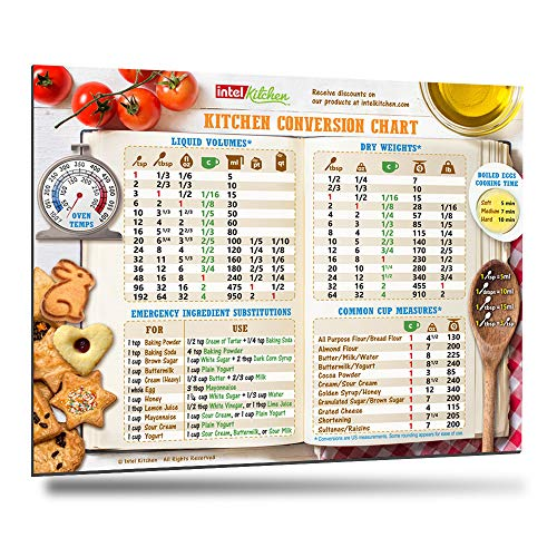 Best Design Kitchen Conversion Chart 8x11 50% More Data Big Magnet & Fonts Easy to Read Magnetic Chef Cookbook Accessories Cooking Utensils Baking Cups Metric Measurement Conversions Unique Gift