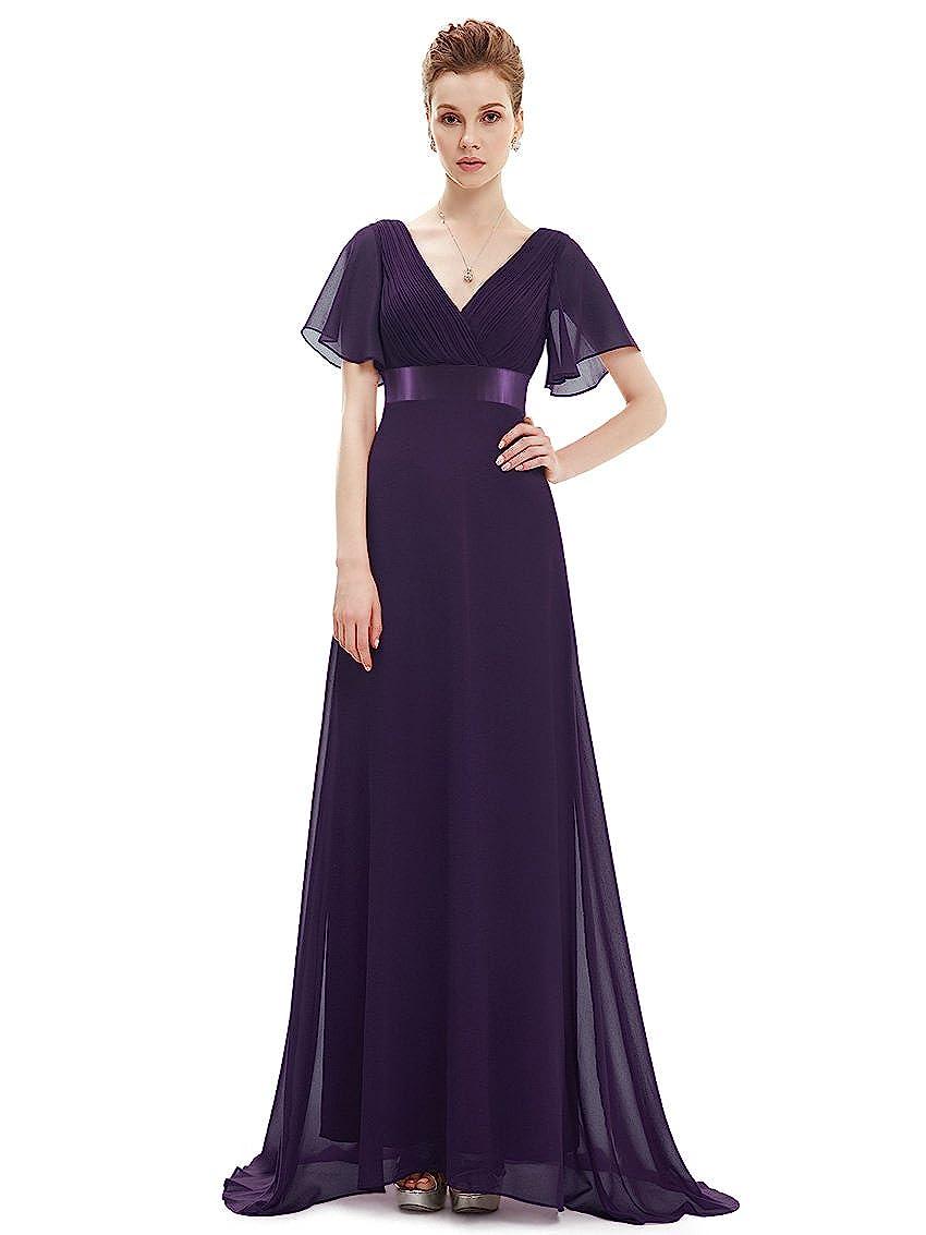Ever Pretty Women's Double V-Neck Short Flutter Sleeves Empire Waist Long Evening Dresses 09890