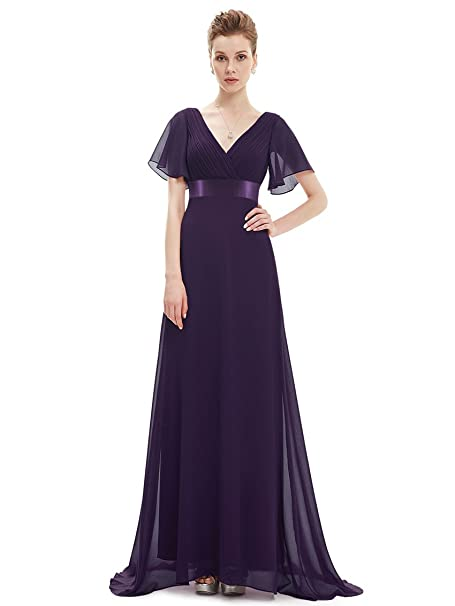 64e77956a42 Ever Pretty Glamorous Double V-Neck Ruffles Padded Evening Dress 8UK Dark  Purple EP09890DP04