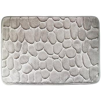 Tentek Luxurious 23.6 Inch By 15.7 Inch (60 X 40 CM) Memory Foam Bath Rug  Mat With SBR Backing(Pebble Pattern)