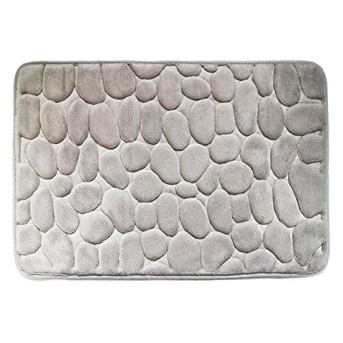 Endurable Mat (Tentek Luxurious 23.6-Inch by 15.7-Inch (60 x 40 CM) Memory Foam Bath Rug Mat with SBR Backing(Pebble)