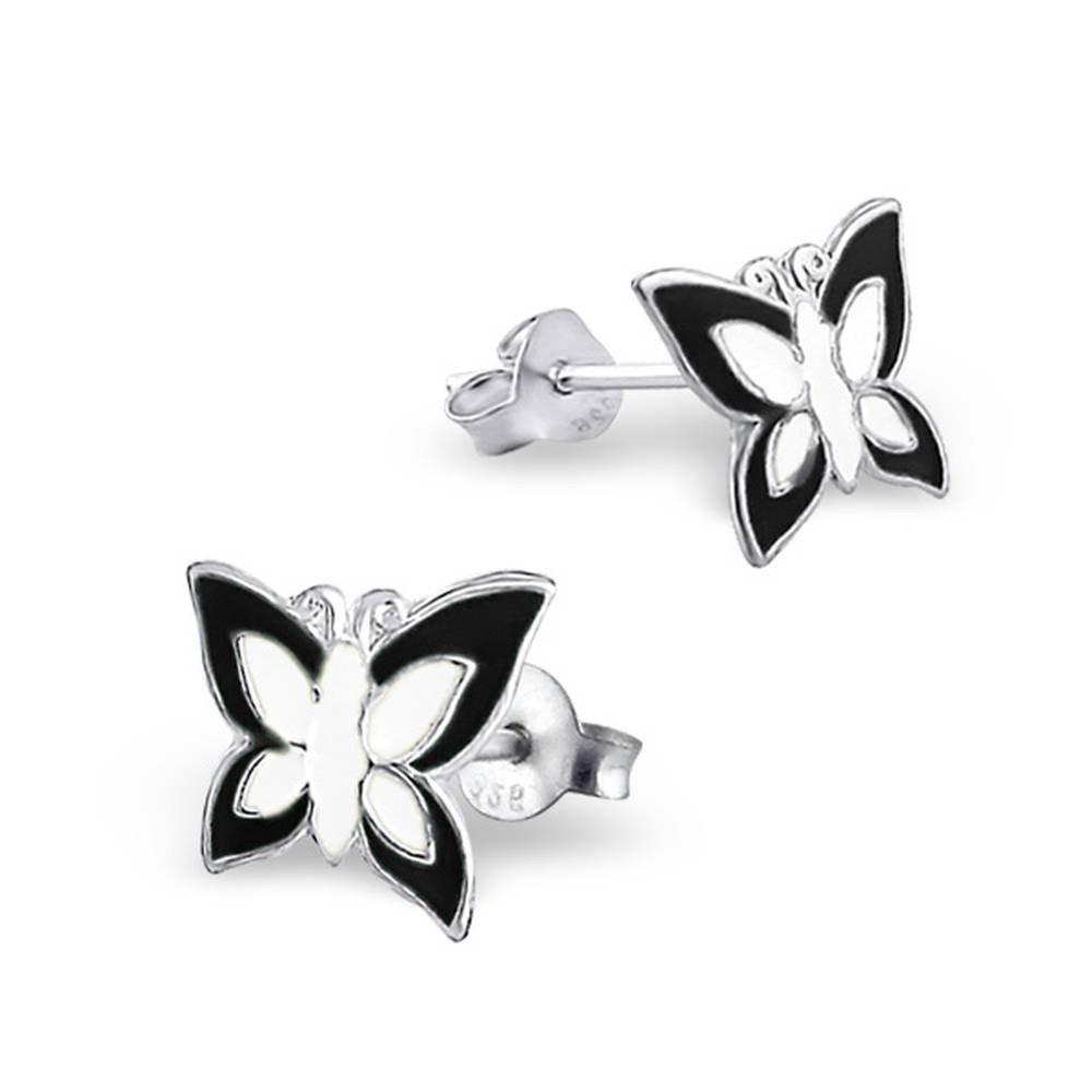 Boucle doreille papillon noir et blanc en argent 925//1000 Mon-bijou H4624