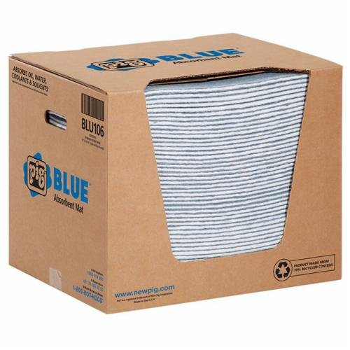 New Pig BLU106 Pig Blue Absorbent Mat Pad in Dispenser Box, Heavy-Weight (Pack of 50)