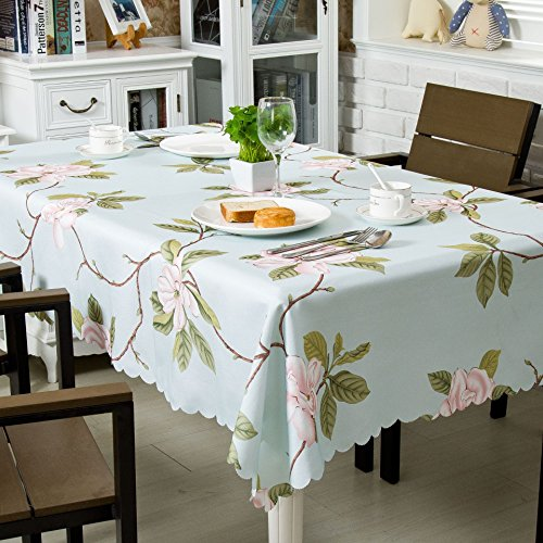 (OstepDecor 100% Polyester Floral Print Tablecloth Waterproof Decorative Table Top Cover for Kitchen Dining Room End Table Protection - Rectangle/Oblong, 60