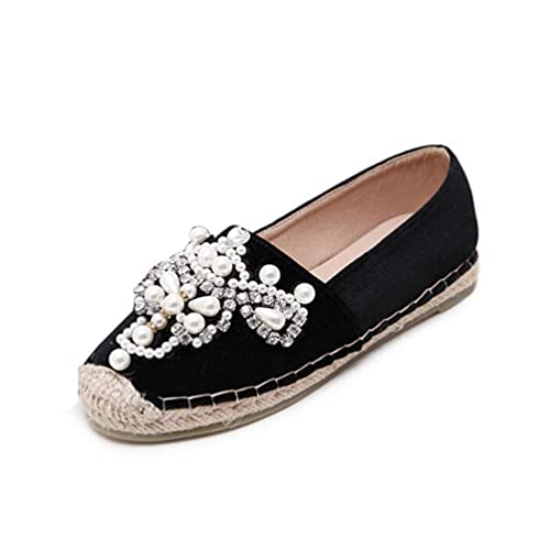 Alpargatas de Mujer holgazán Ovalada Perla cáñamo Fondo Pisos Antideslizante en Zapatos cómodos: Amazon.es: Zapatos y complementos