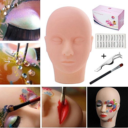 Practice Training Head,TopDirect Mannequin Training Flat Head Rubber Practice Manikin Head Doll Face Eyelashes Makeup Massage with Training Lashes Stainless Steel Straight Pointed and Eye Shadow Brush