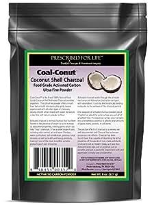 Coal-Conut(TM) - Activated Coconut Shell Charcoal Fine Husk Food Grade Powder (Ultra-Fine), 8 oz