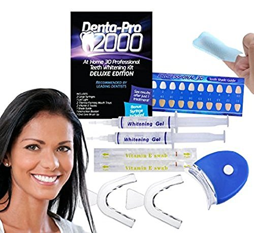 DentaPro 2000 3D Teeth Whitening Kit – Deluxe Addition Includes LED Light, (2) 5ml Gel Syringes, Custom Moldable Tray (2), Vitamin E Swab (2), Shade Guide – See Results After Just One Use!