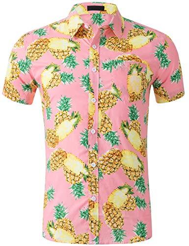 (DOKKIA Men's Dress Tropical Short Sleeve Beach Party Luau Aloha Hawaiian Shirt (Pineapple Pink Yellow Green, XX-Large))
