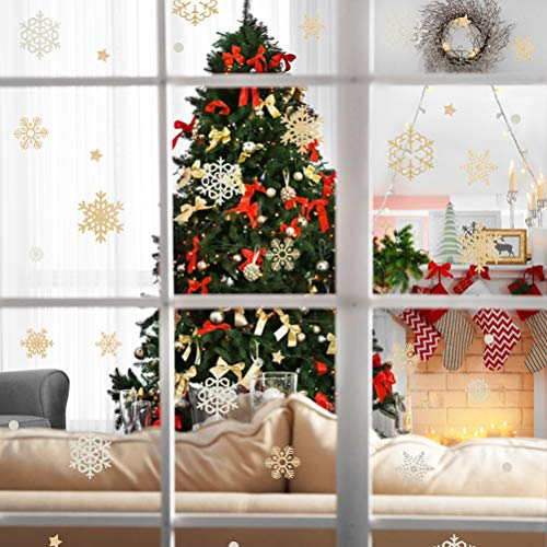 PAWCHIE 150pcs Christmas Snowflake Window Clings Decal Stickers Silver and Gold - Reusable, No Mess, Winter Wonderland Xmas Party Stickers Decal Ornaments