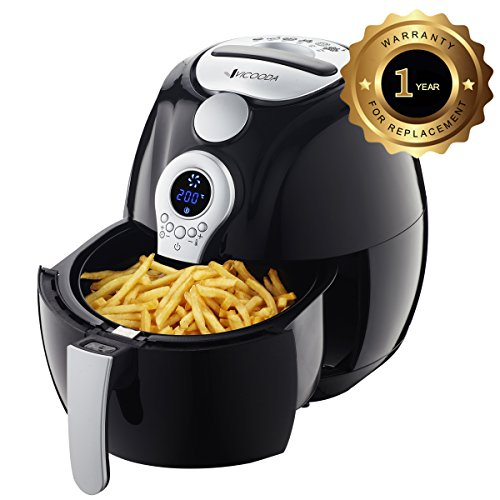 Air Fryer, VICOODA Electric Air Fryer 3.7Qt/3.5L, LED Display Hot Air Fryer Oil-less Fryer for Home, Healthy Foods, With 8-in-1 Cook Presets, Non Stick Fry Basket, Easy to Clean, Automatic Timer & Temperature Controls, 1400W