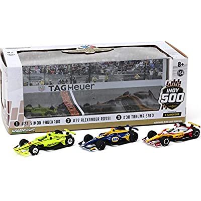 Greenlight 10856 2020 Indianapolis 500 Podium 3-Car Set - #22 Pagenaud, 27 Rossi, 30 Sato 1/64 Scale Indy Diecast: Toys & Games