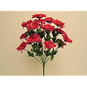 "Phoenix Silk BEAUTY Zinnia Bush 14 Artificial Silk Flowers 20"" Bouquet 930BTY 108"