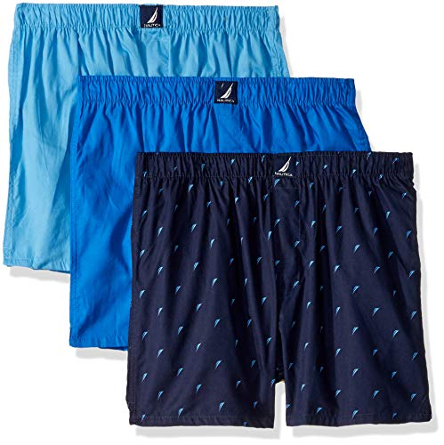 Nautica Men's Cotton Woven 3 Pack Boxer, aero Blue/Sea Cobalt/Sails-Peacoat, Medium (Shorts Boxer Nautica)