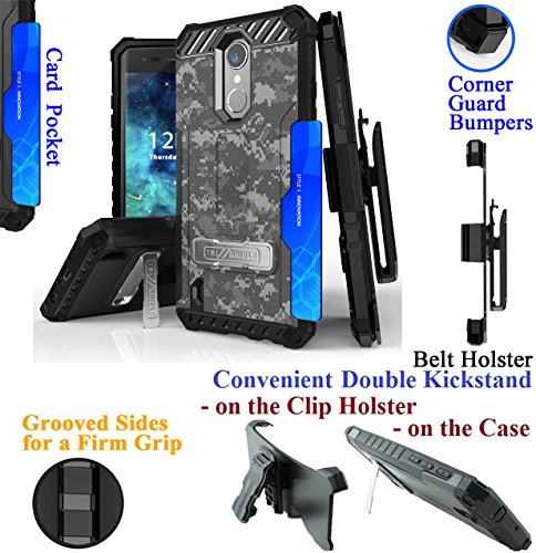 for LG K8 2017 Rebel 2 Risio 2 FORTUNE Phone Case Belt Clip Holster 2 Kick stand Card Slot Corner Guard Bumper Grip Sides Hybrid Armor Cover (Camo Army Winter)
