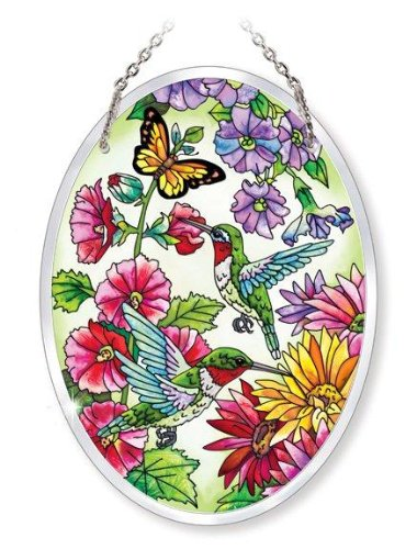 Amia Beveled Glass Medium Oval Suncatcher Hand-Painted Hummingbird Design, 5-1/2 by 7-Inch