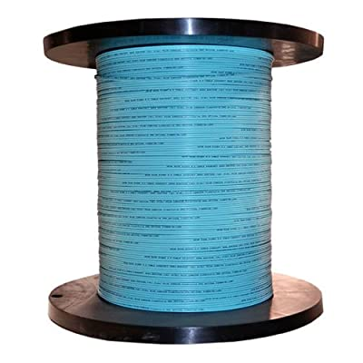 1000Ft 12 Fiber Indoor Distribution Fiber Optic Cable, Multimode, 50/125, OM3, 10 Gbit, Aqua, Riser Rated, Spool