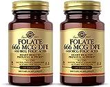 Solgar Folate 666 mcg DFE (Folic Acid 400 mcg), 100 Tablets - Pack of 2 - Heart Health - Prenatal Support - Non-GMO, Vegan, Gluten Free, Dairy Free, Kosher - 200 Total Servings