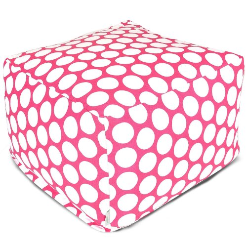 Majestic Home Hot Pink Large Polka Dot Ottoman, Large