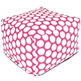 Majestic Home Goods Hot Pink Large Polka Dot Large Ottoman
