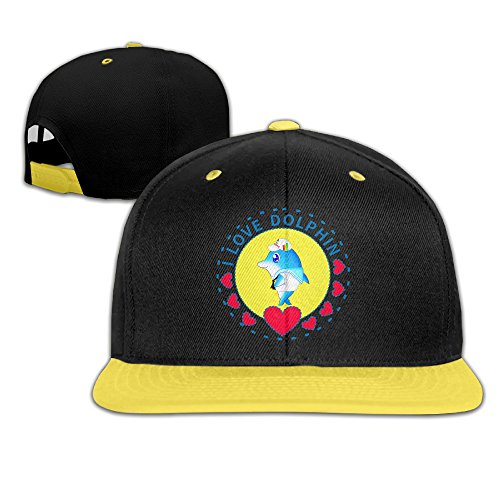 child-i-love-dolphin-adjustable-snapback-baseball-caps-yellow