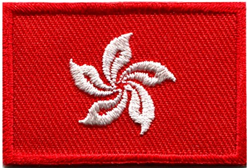 Flag of Hong Kong China Chinese orchid embroidered applique iron-on patch new size Medium