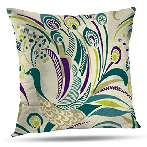 Pakaku Throw Pillows Covers for Couch/Bed 16 x 16 inch,Purple Teal Peacock Swirl by American Home Sofa Cushion Cover Pillowcase Gift Decorative Hidden Zipper Summer Beach Sunlight