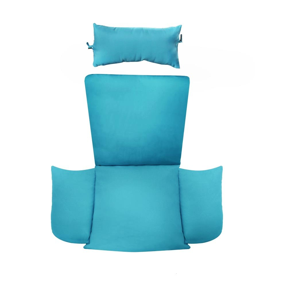 Island Gale Hanging Basket Chair Cushion Replacement with Head Pillow by, Removable Cover, with Attached ties Blue