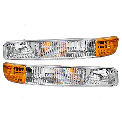 Park Signal Front Marker Lights Lamps Lenses Driver and Passenger Replacements for GMC Sierra Pickup Truck Yukon SUV 15199560 15199561