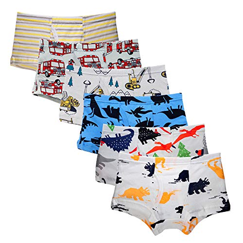 Bossail 2-7 Years Kids Soft Cotton Toddler Underwear 6-Pack Little Boys' Assorted Boxershorts Briefs (3-4 Years, Comb4)