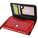 High Quality Leather Wallet Flip Carrying Case Pouch for Blackberry Z30 - with Card Holder and Removable Strap - Crocodile Pattern - Magnetic Clasp for Easy Phone Access - (Red Plus Interior Black) + Mini Touch Screen Stylus
