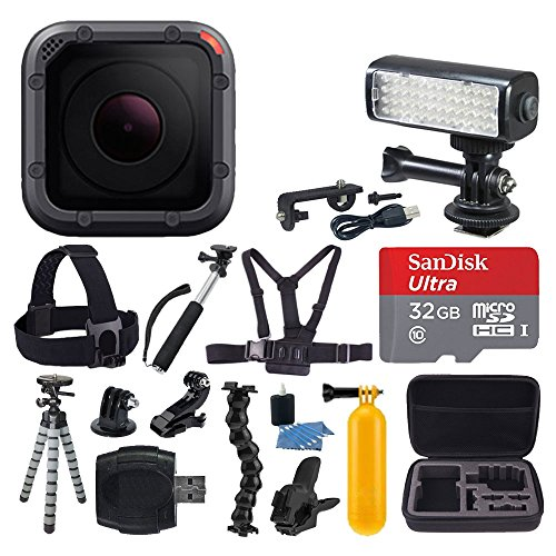 GoPro HERO5 Session + SanDisk 32GB microSDHC Memory Card + LED Video Light + Chest & Head Strap + Hard Case + Flexible Tripod + Monopod + Card Reader + Flexible Clamp Mount + Action Accessory Bundle by PHOTO4LESS