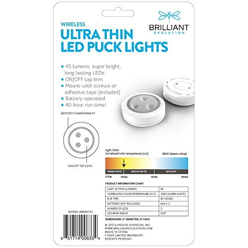 Brilliant-Evolution-BRRC113-Wireless-Ultra-Thin-LED-Puck-Light-2-Pack-Operates-On-3-AAA-Batteries-Kitchen-Under-Cabinet-Lighting