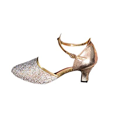 3e95c140f1a4 Fulision Female Dance Shoes Latin Heeled Round Toe Glitter Wedding Shoes  Gold