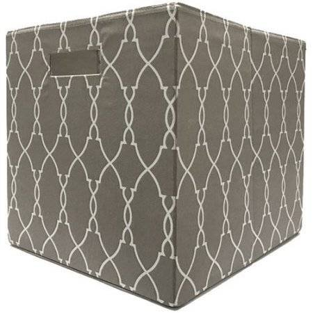 Better Homes and Gardens Collapsible Fabric Storage Cube - Taupe (Trellis Fabric)