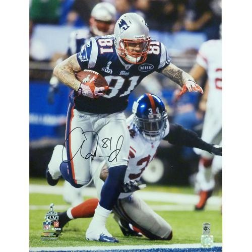 Aaron Hernandez Autographed New England Patriots (Blue Jersey) 16x20 Photo - AH Holo