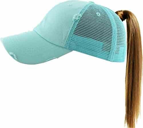 KBETHOS New Glitter Designed Leopard Ponytail Hat Baseball Caps for Women Cotton and Mesh Trucker Better Made Original Tags