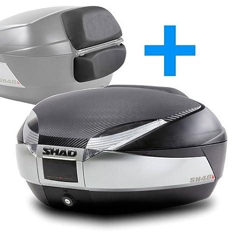 SHAD : Baul maleta moto scooter SH48 REGALOS: Tapa carbon/titanio + respaldo: Amazon.es: Coche y moto