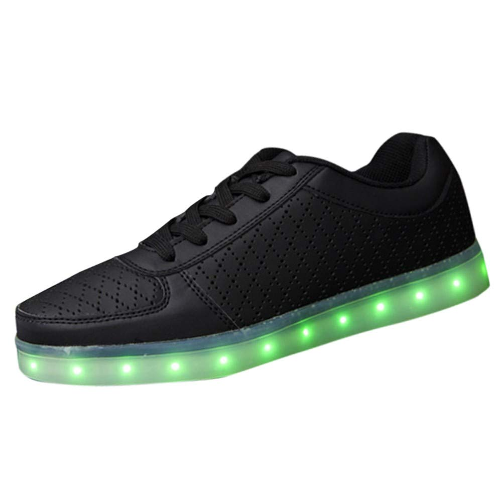 Dacawin Couples Casual Sports Shoes USB Charging Colorful LED Lights Shoes Illuminated Shoes (Women Black, Tag Size 38=US:7)