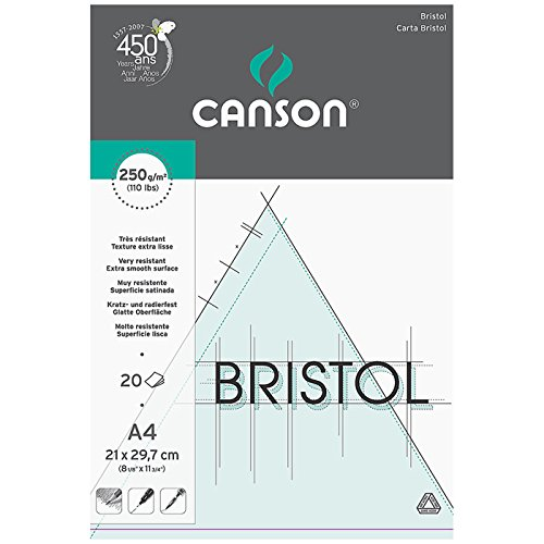 A4 Canson Bristol Pad 250gsm 20s